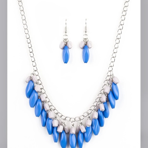 Blue, grey beads on silver chain w/earrings
